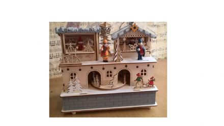 Musical Wooden Christmas Fair Scene 56095